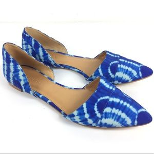 J. CREW Blue Tie Dye D'Orsay Pointy Flat Slip On 8